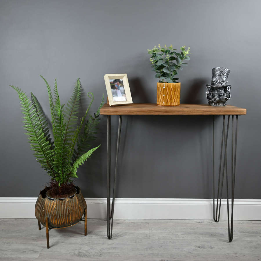 Reclaimed timber console table with hairpin legs