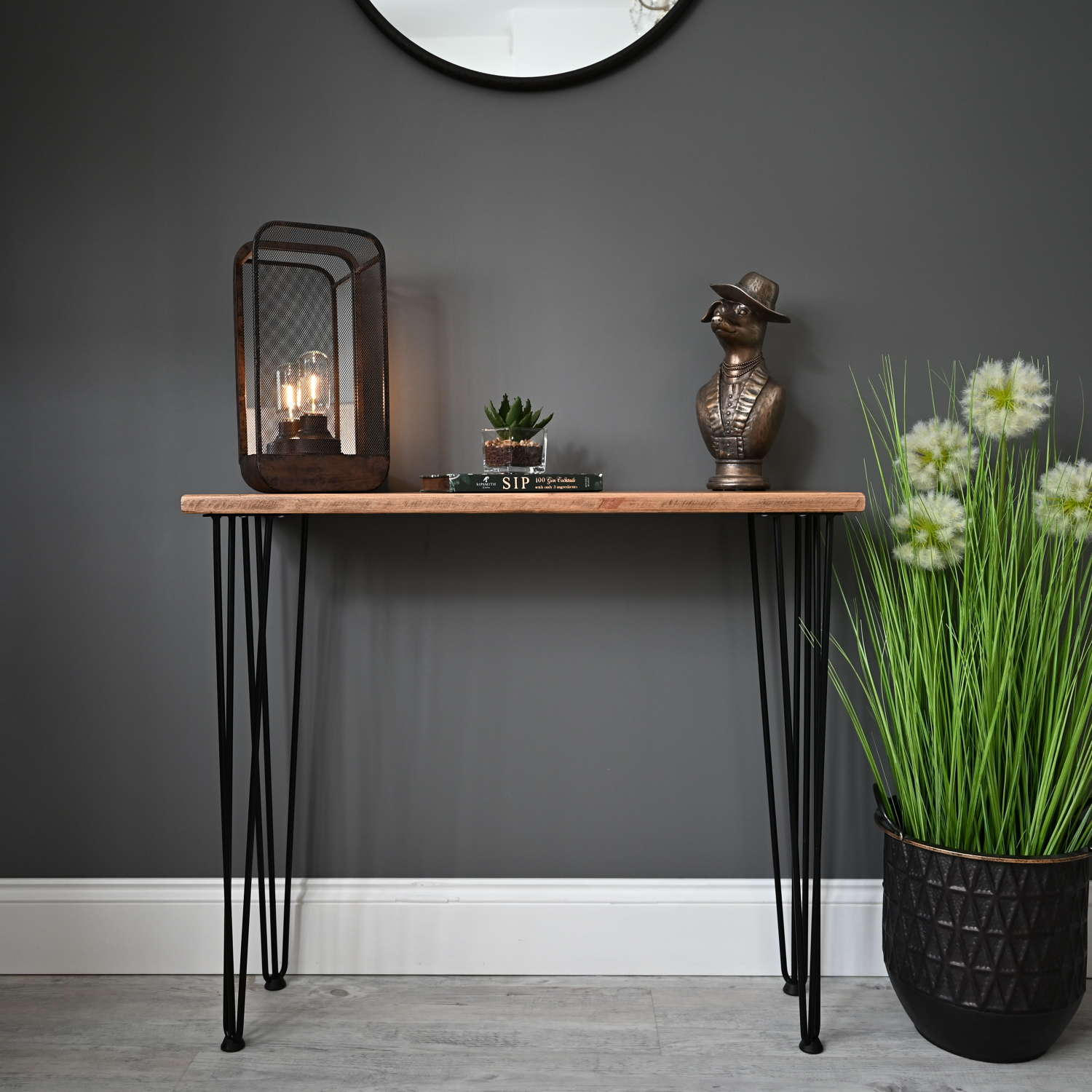 Reclaimed timber console table with black hairpin legs