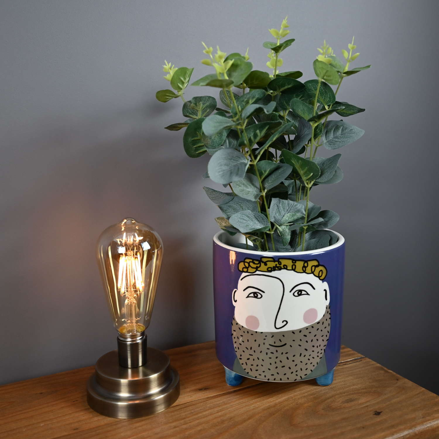 Edison bulb industrial style battery operated lamp