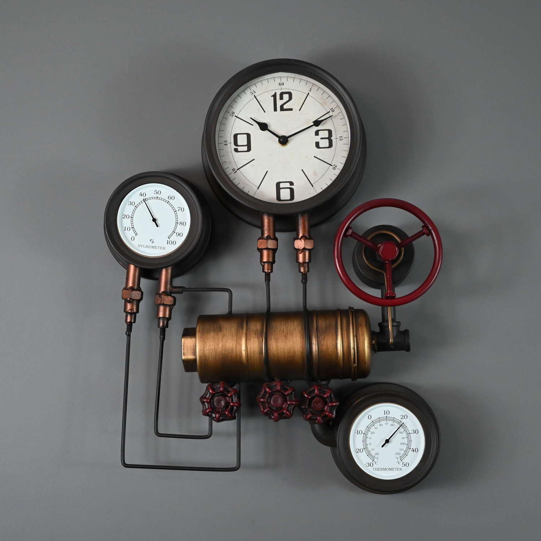 Industrial pipework metal wall clock