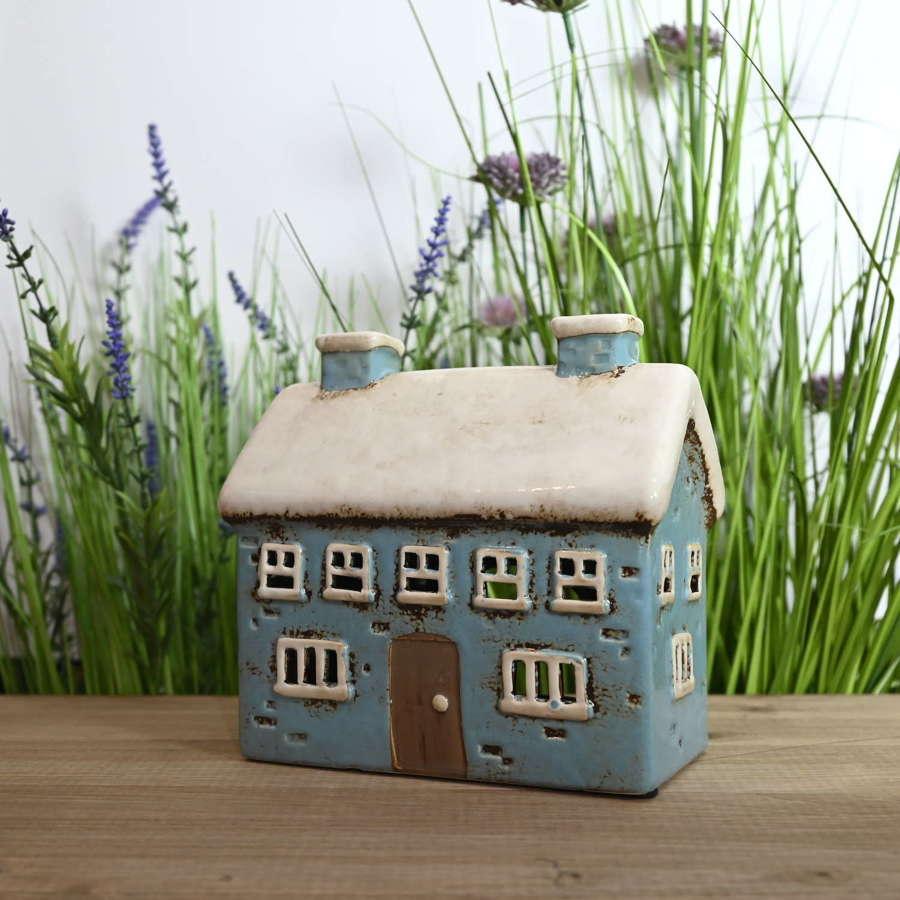 Pottery Village house tealight holder