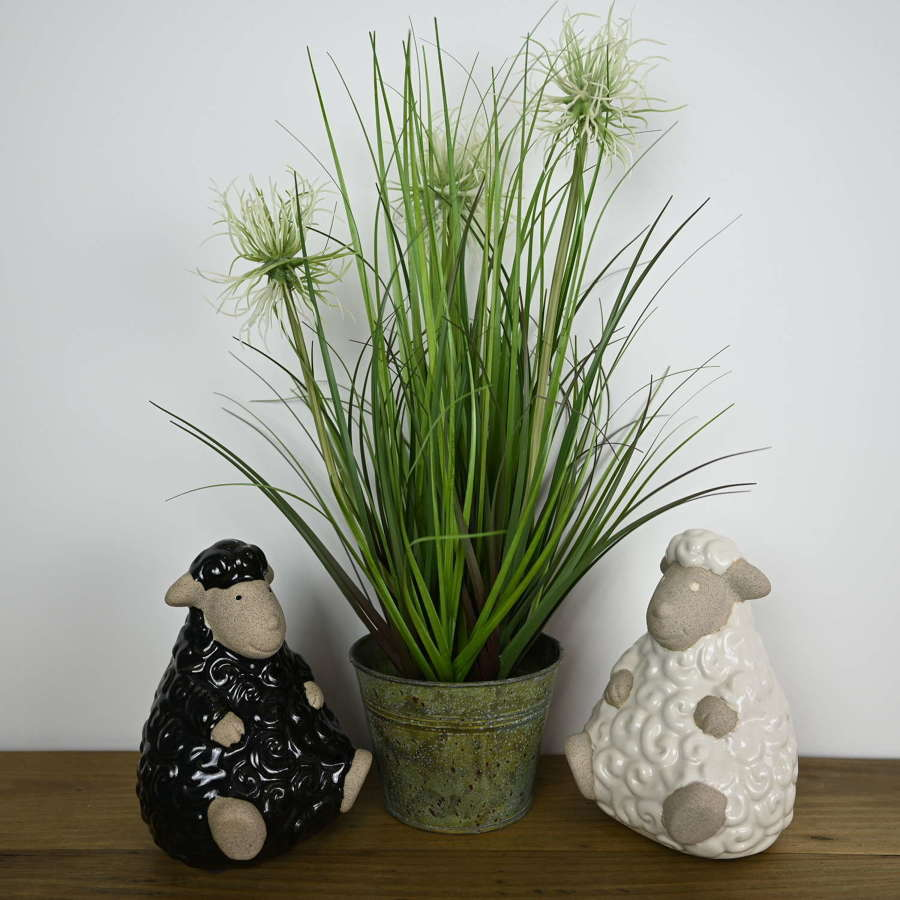 Ceramic black and white Sheep
