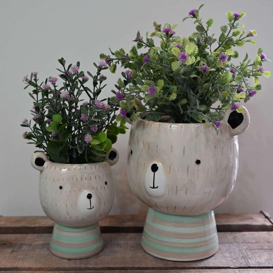 Bramble Bear planter vase