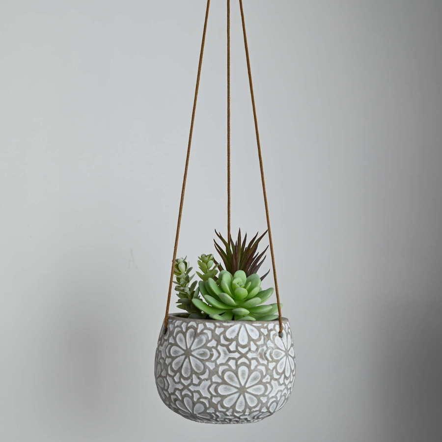 Cement hanging planter