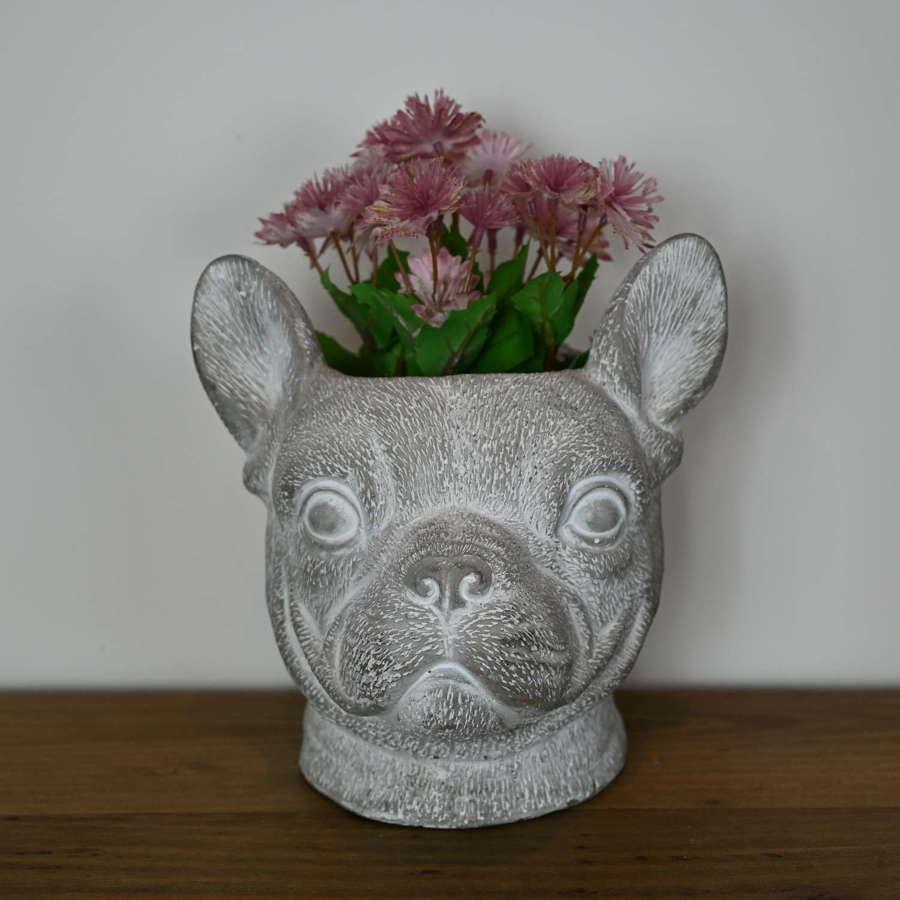 French bulldog cement planter