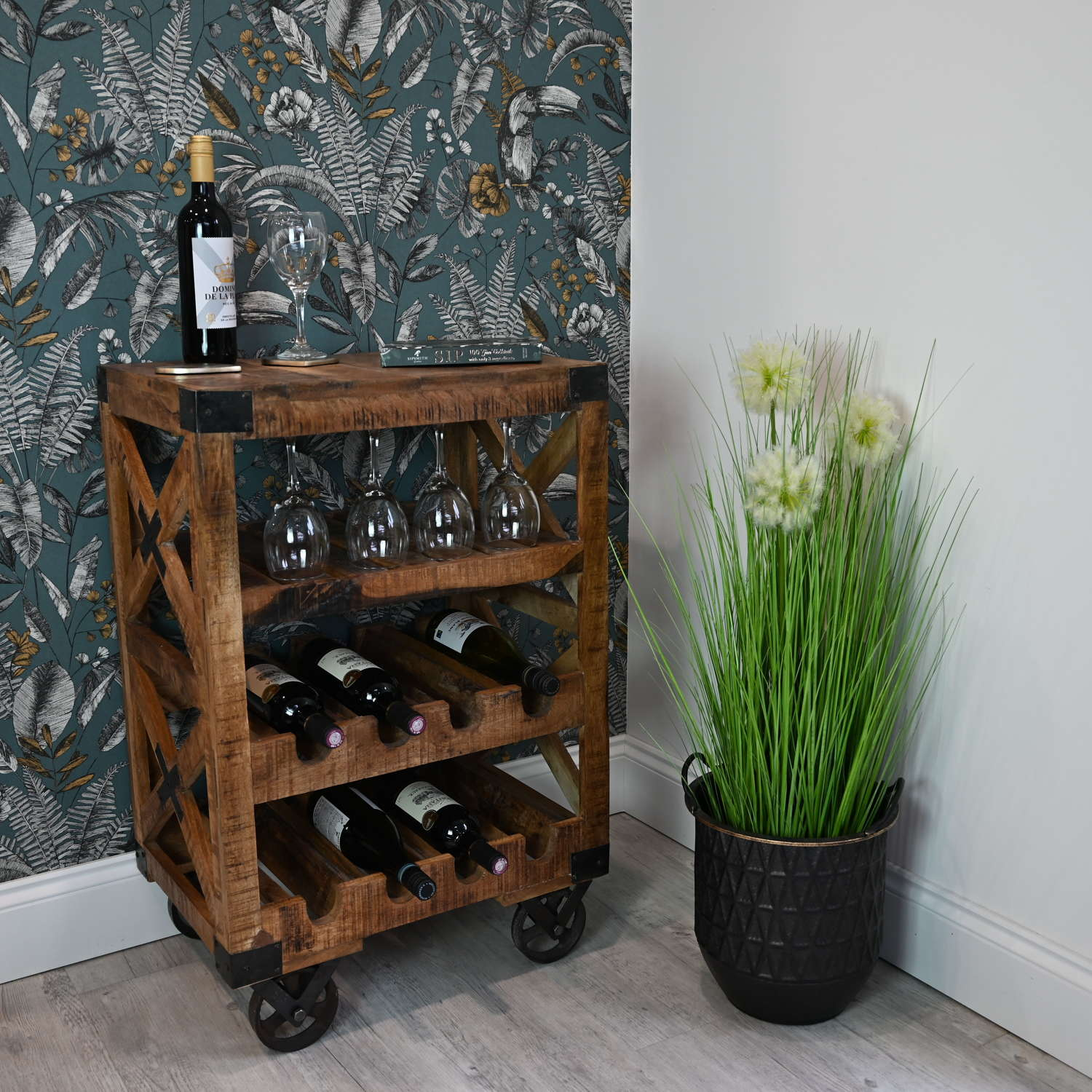 Rustic industrial wine trolley with cast iron wheels