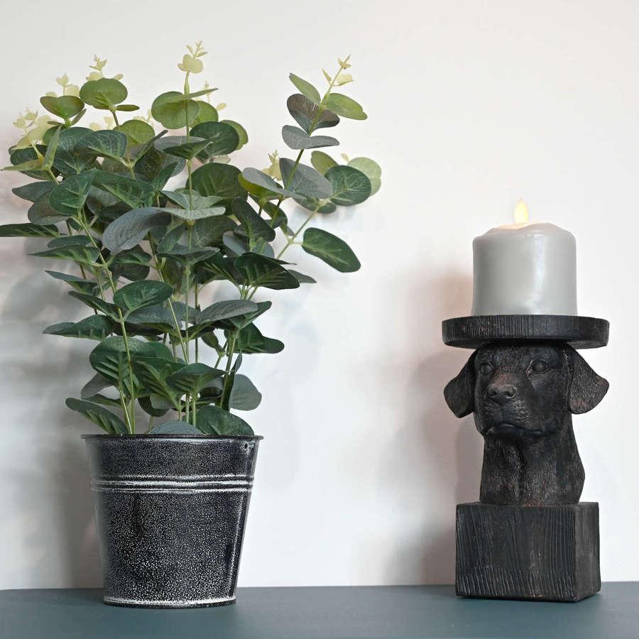 Labrador dog candle holder
