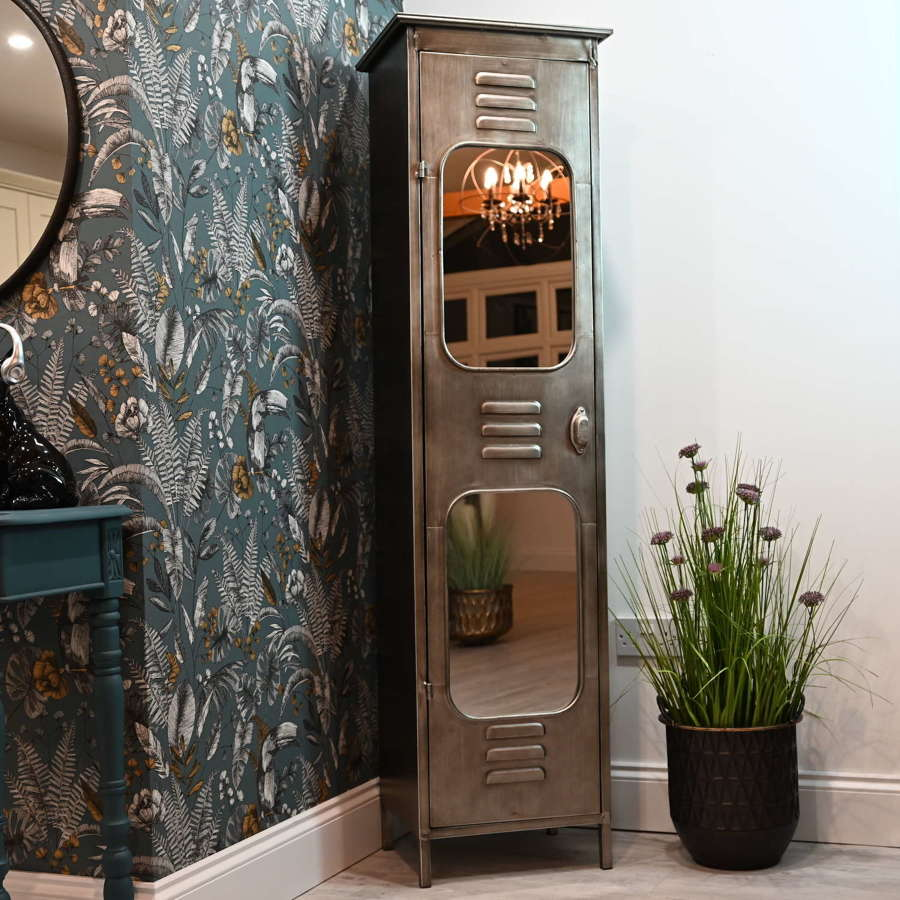 Tall metal locker style cabinet with mirrors