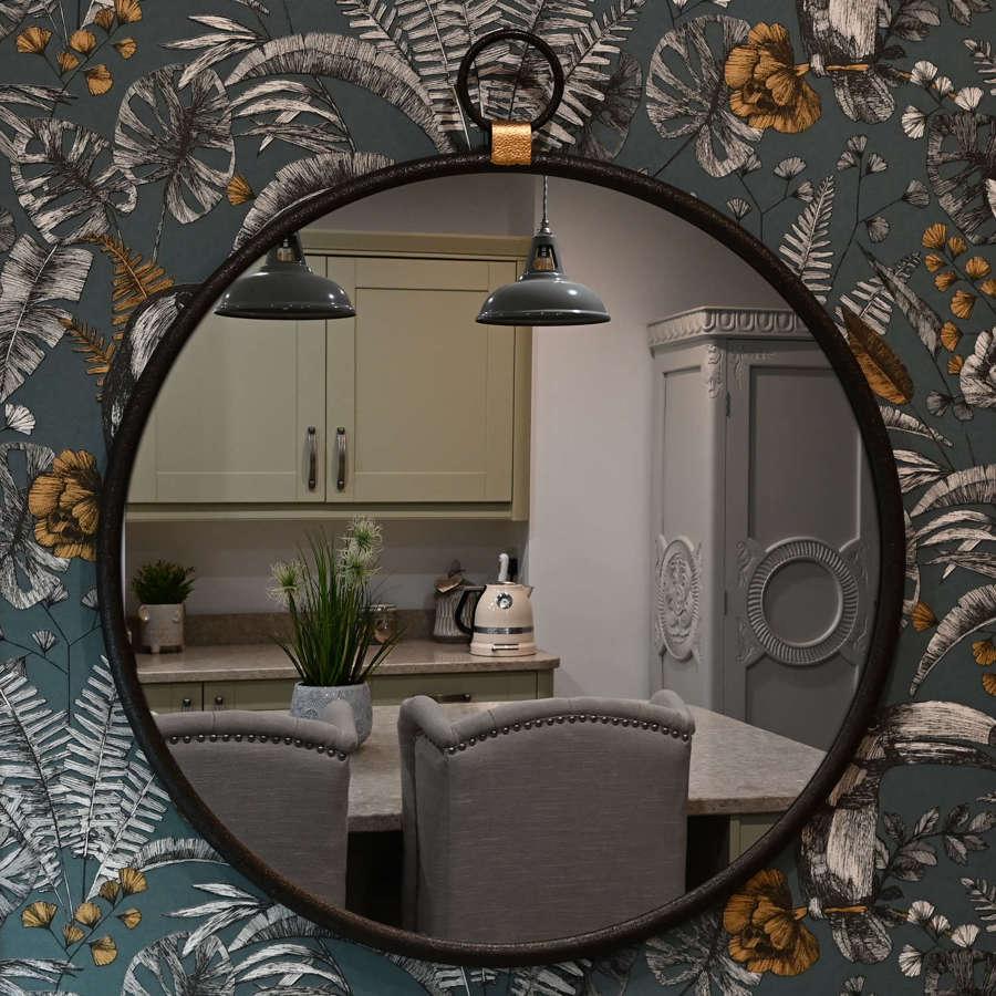 Industrial style metal round mirror