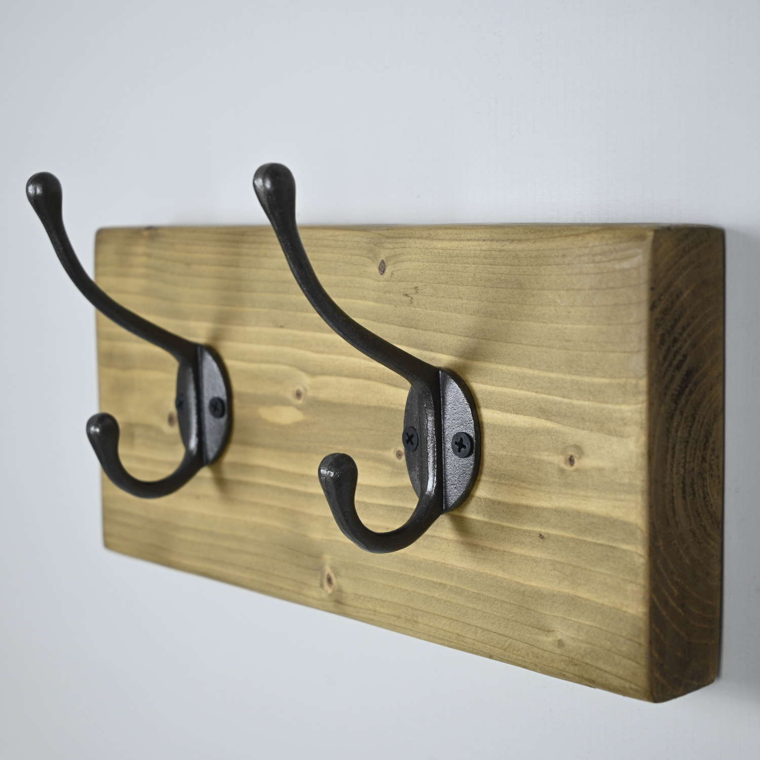 Rustic wall hanging coat rack with two cast Iron hooks
