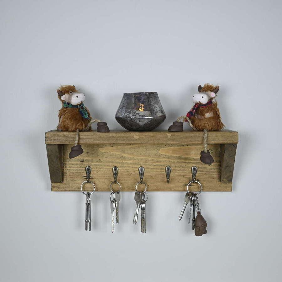 Rustic style reclaimed wood hanging key hook shelf