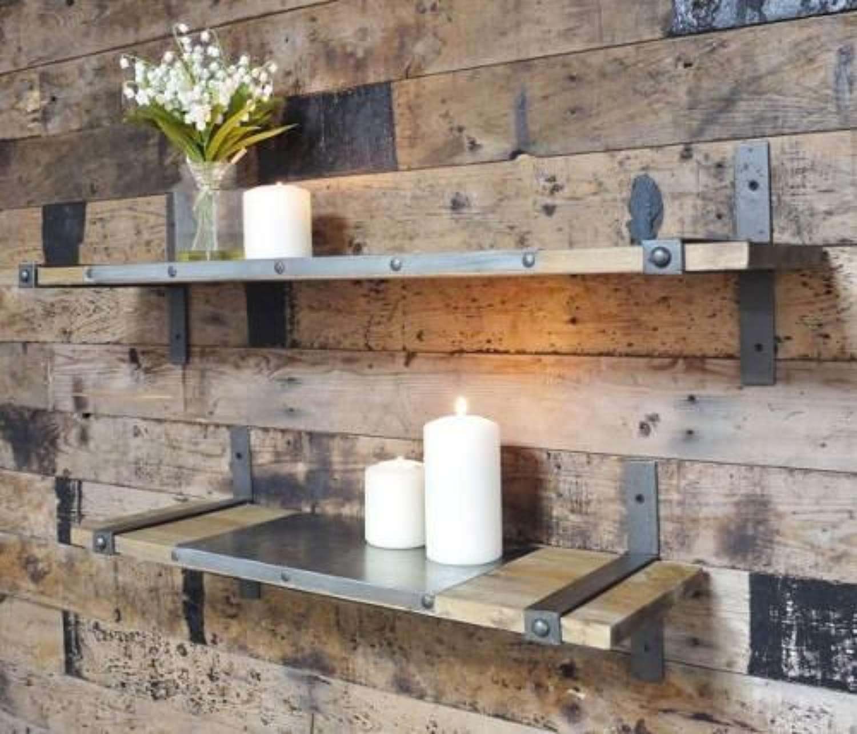 Industrial wood and metal shelves
