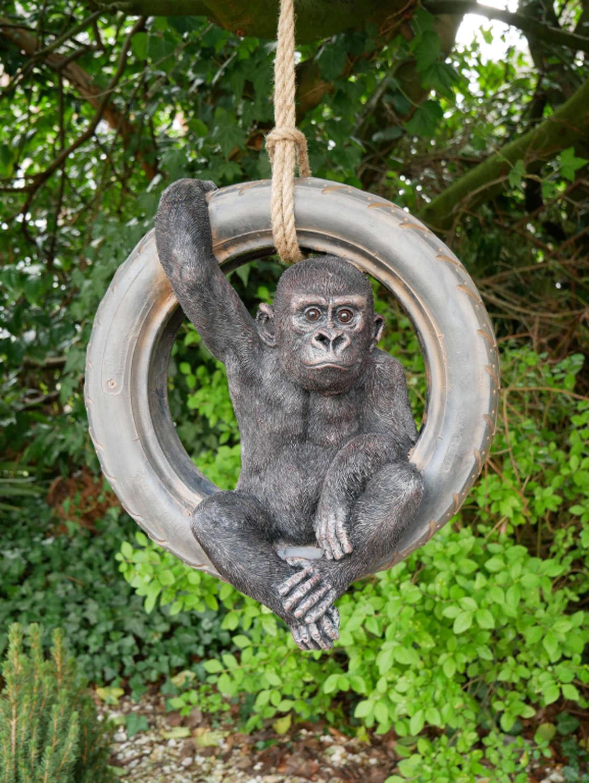 Gorilla on tyre swing