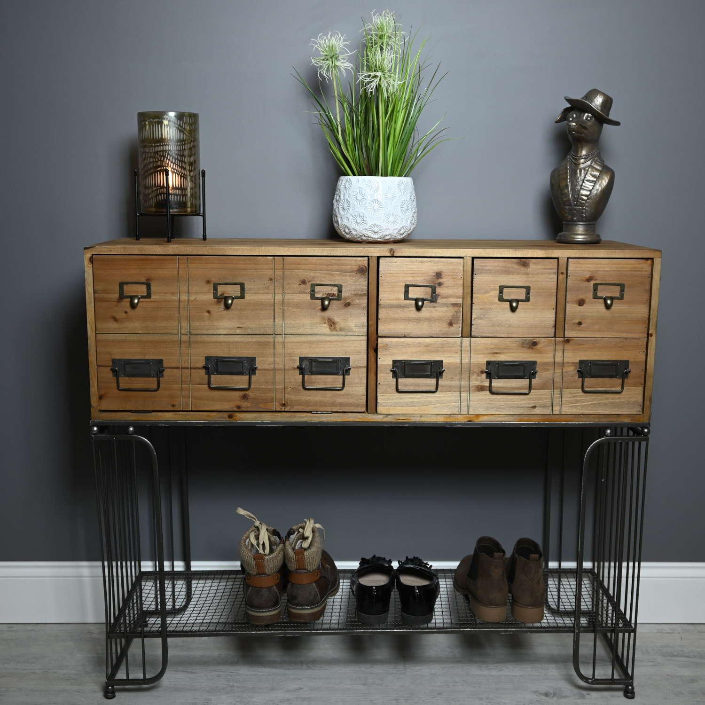 Industrial wood and metal sideboard cabinet