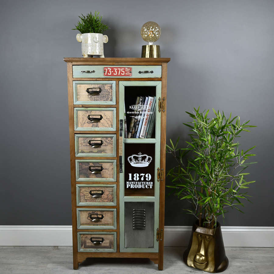 Industrial eight drawer cabinet with shelving
