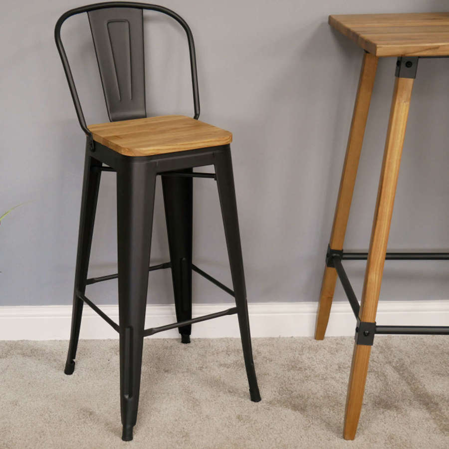 Industrial metal and wood bar stool