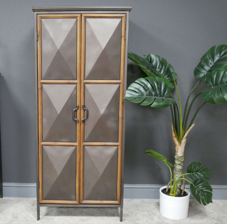 Industrial distressed metal cabinet with diamond convex doors
