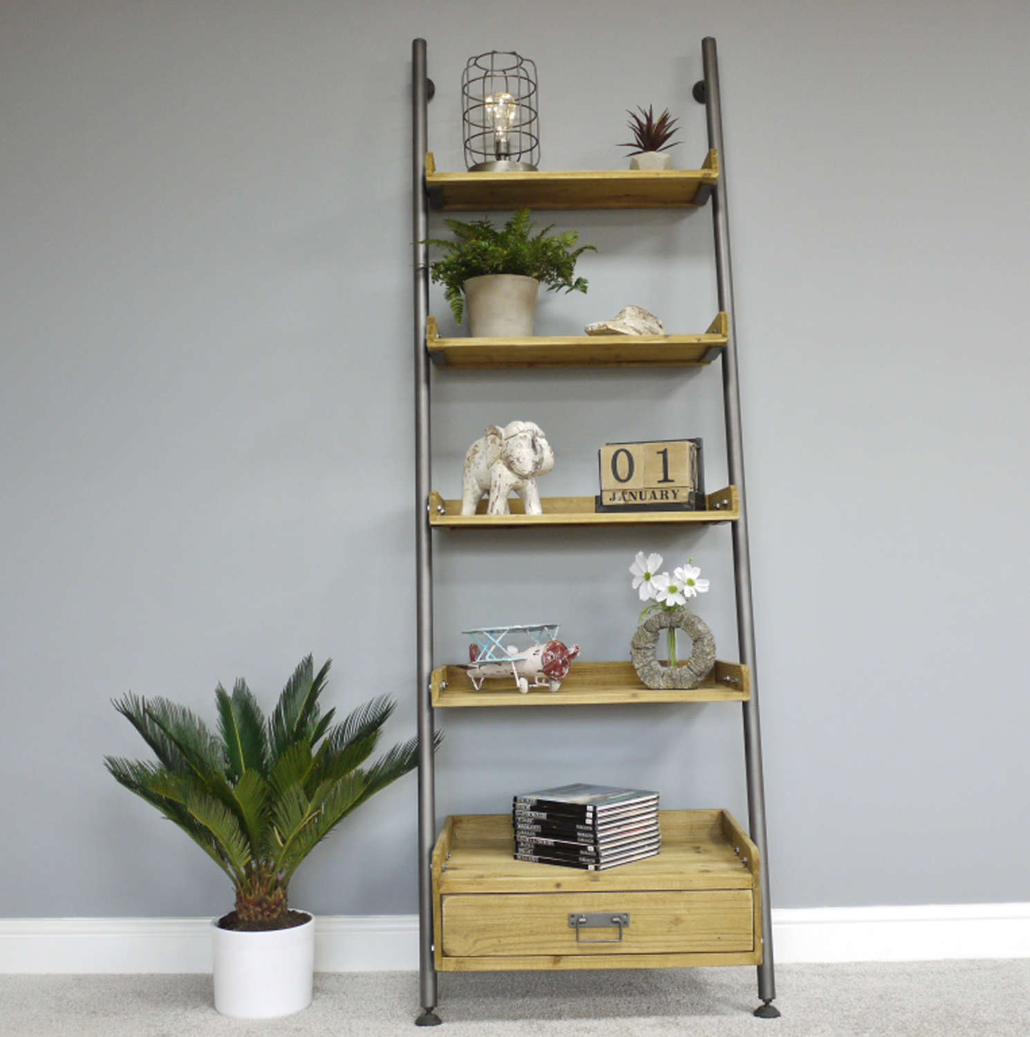 Ladder style shelving with drawer