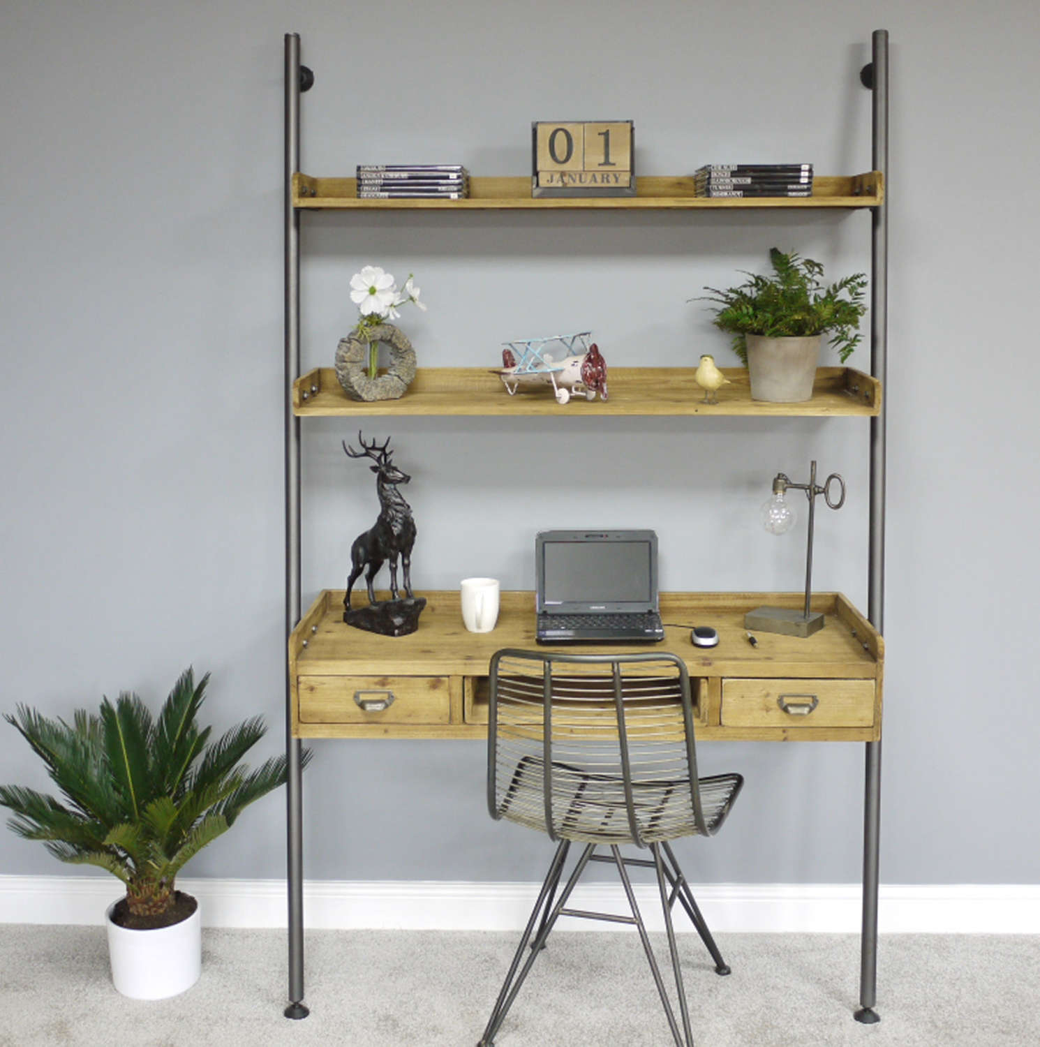 Urban style Desk with ladder style shelving