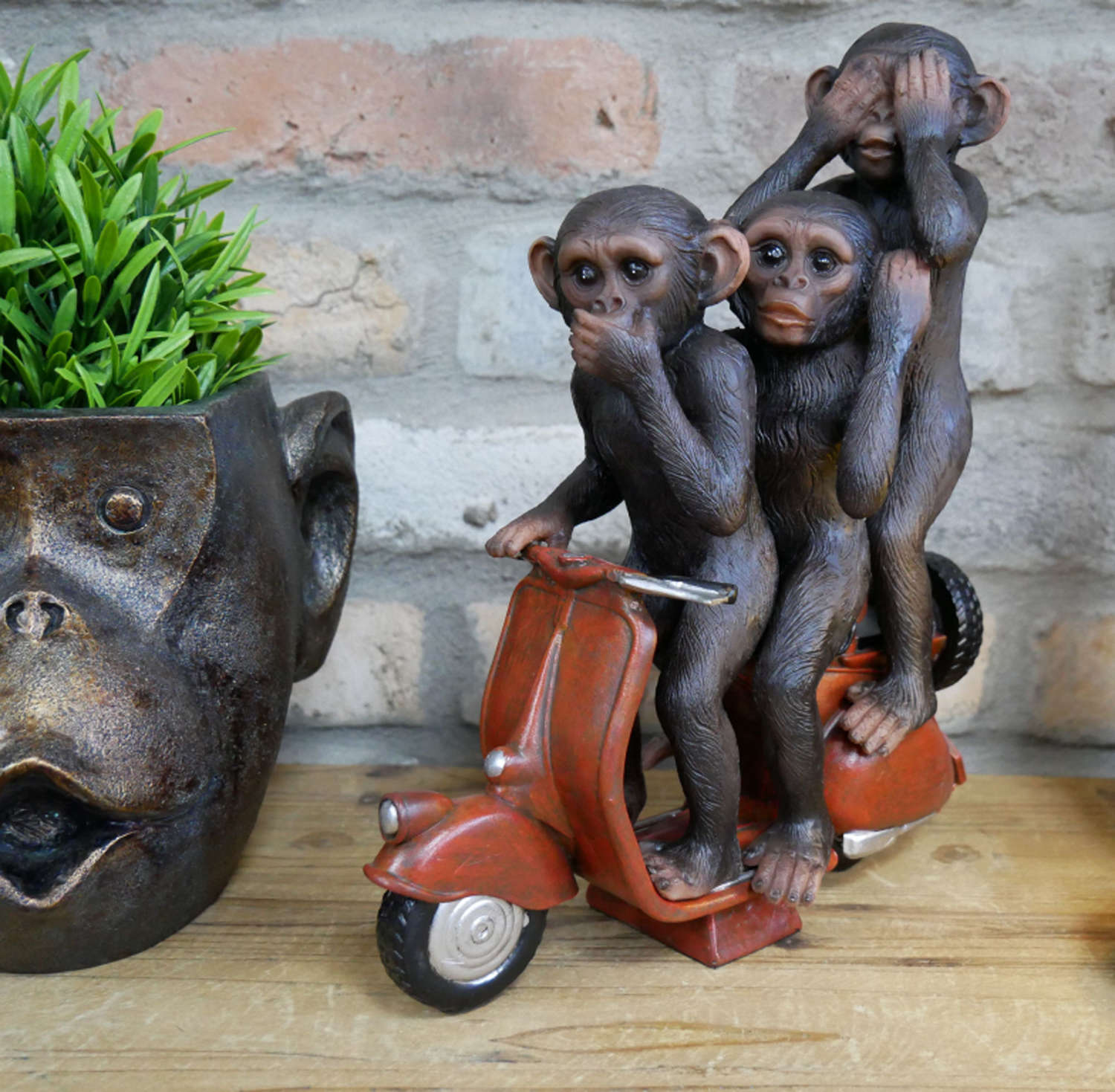 Monkey on a scooter ornament
