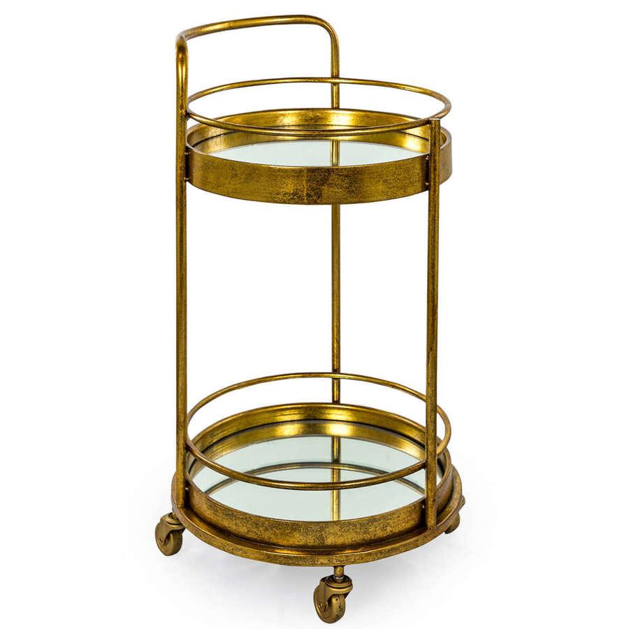 Antique gold leaf metal drinks trolley