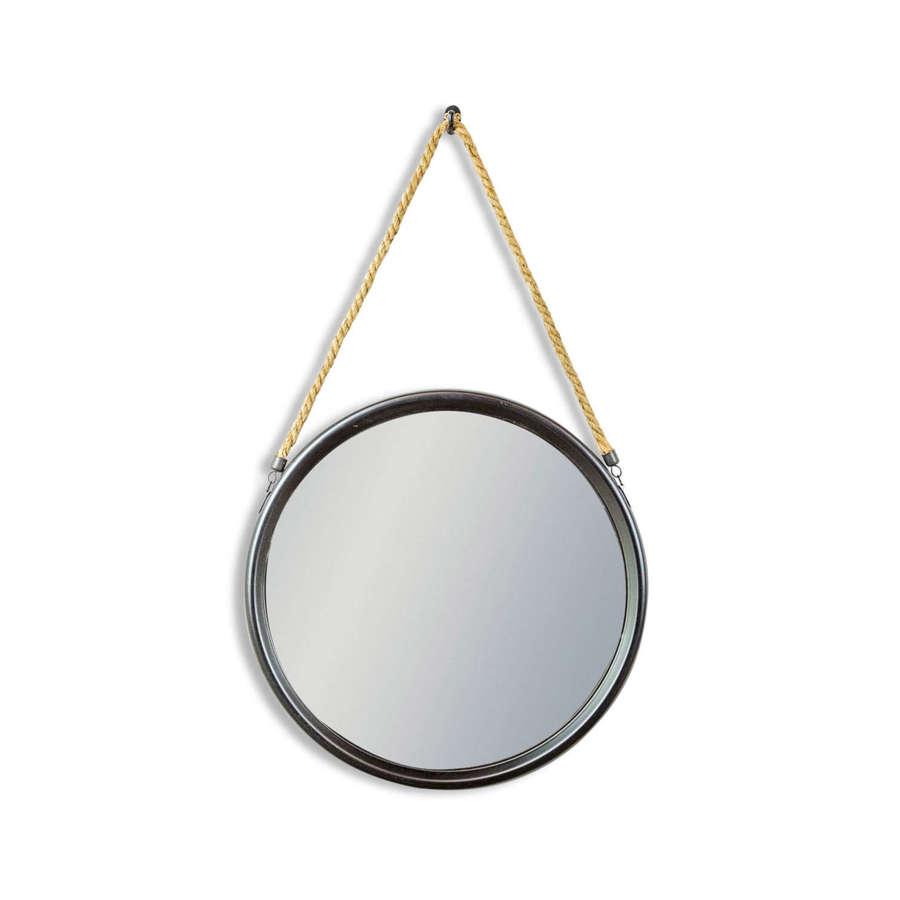 Round black metal mirror with hanging rope
