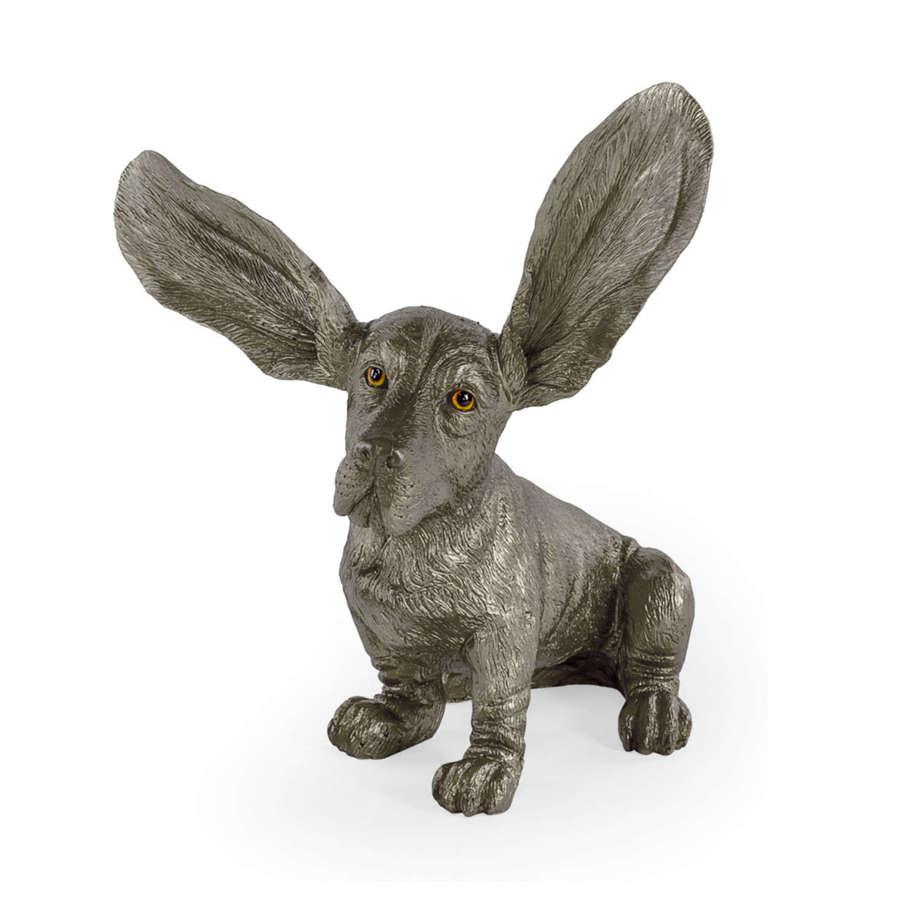 Silver Basset Hound ornament
