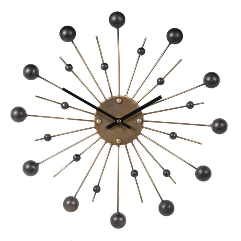 Gold spike retro black ball wall clock