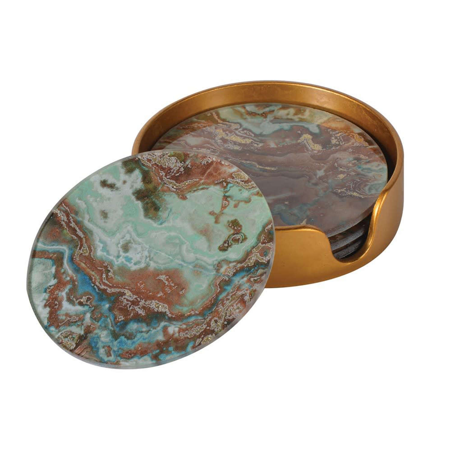 Set of four Green Marble Effect Coasters