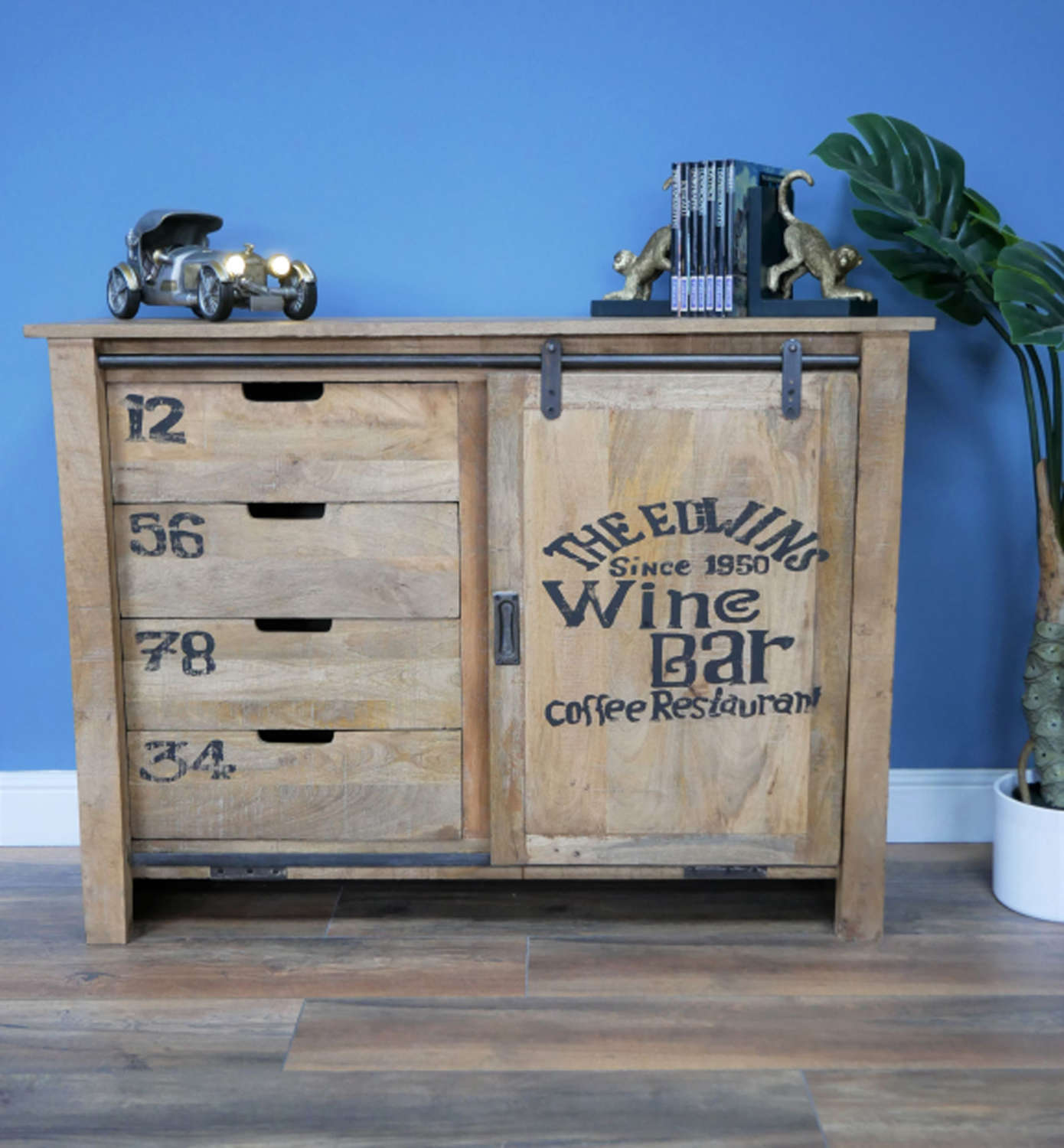 Industrial style drawer cabinet with sliding door