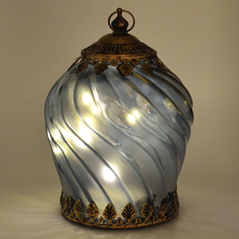 LED Light blue iridescent lantern