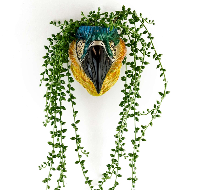 Ceramic Blue Parrot head wall planter
