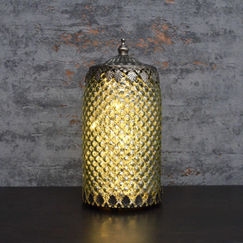 Silver LED pattern lantern