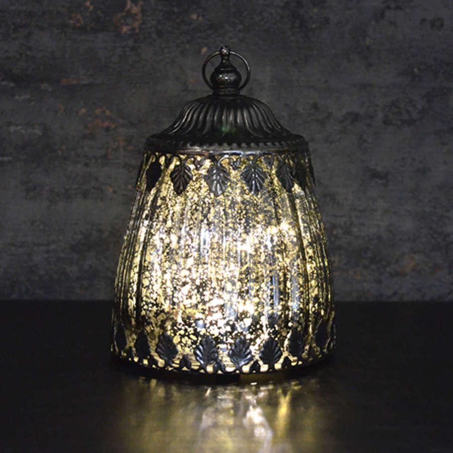 Pewter effect LED lantern