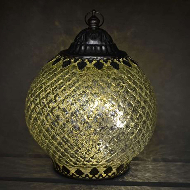 Antique silver LED lantern