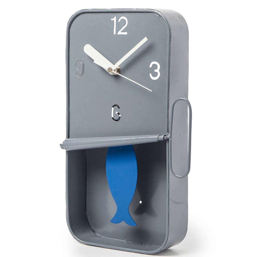 Grey metal Sardine tin pendulum wall clock