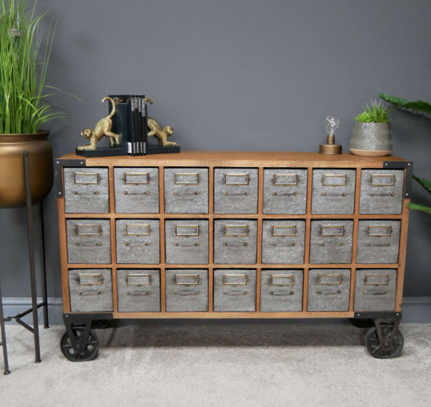 Industrial metal and wood multi drawer unit