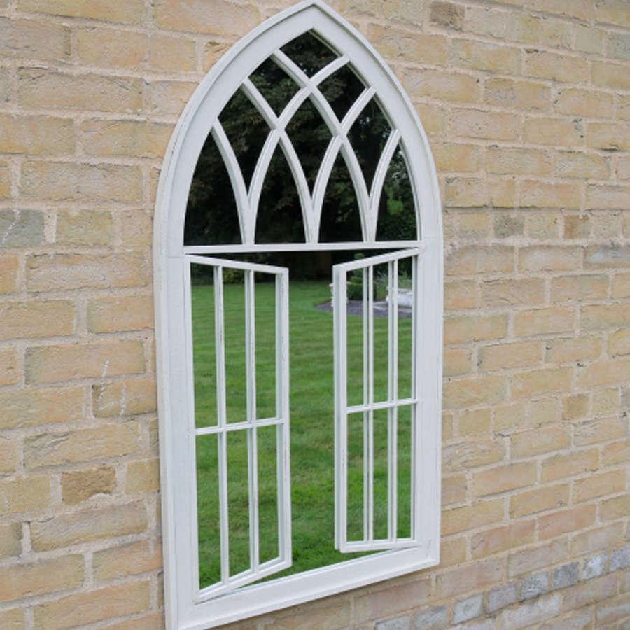 White metal window style garden mirror