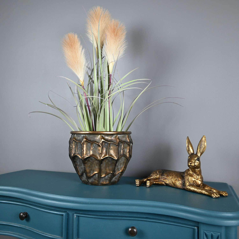 Metal embossed planter