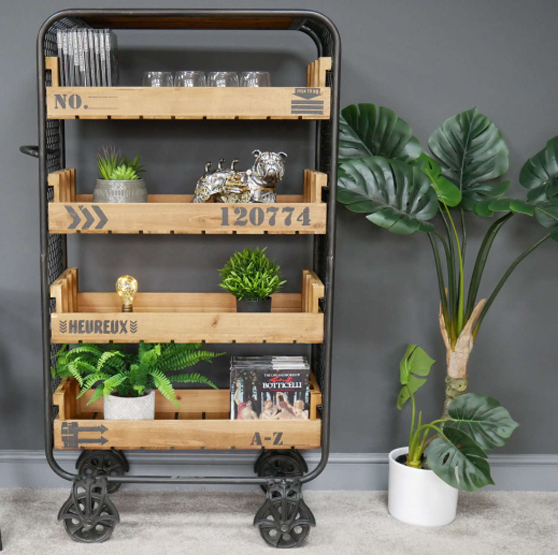 Industrial shelving cabinet on wheels