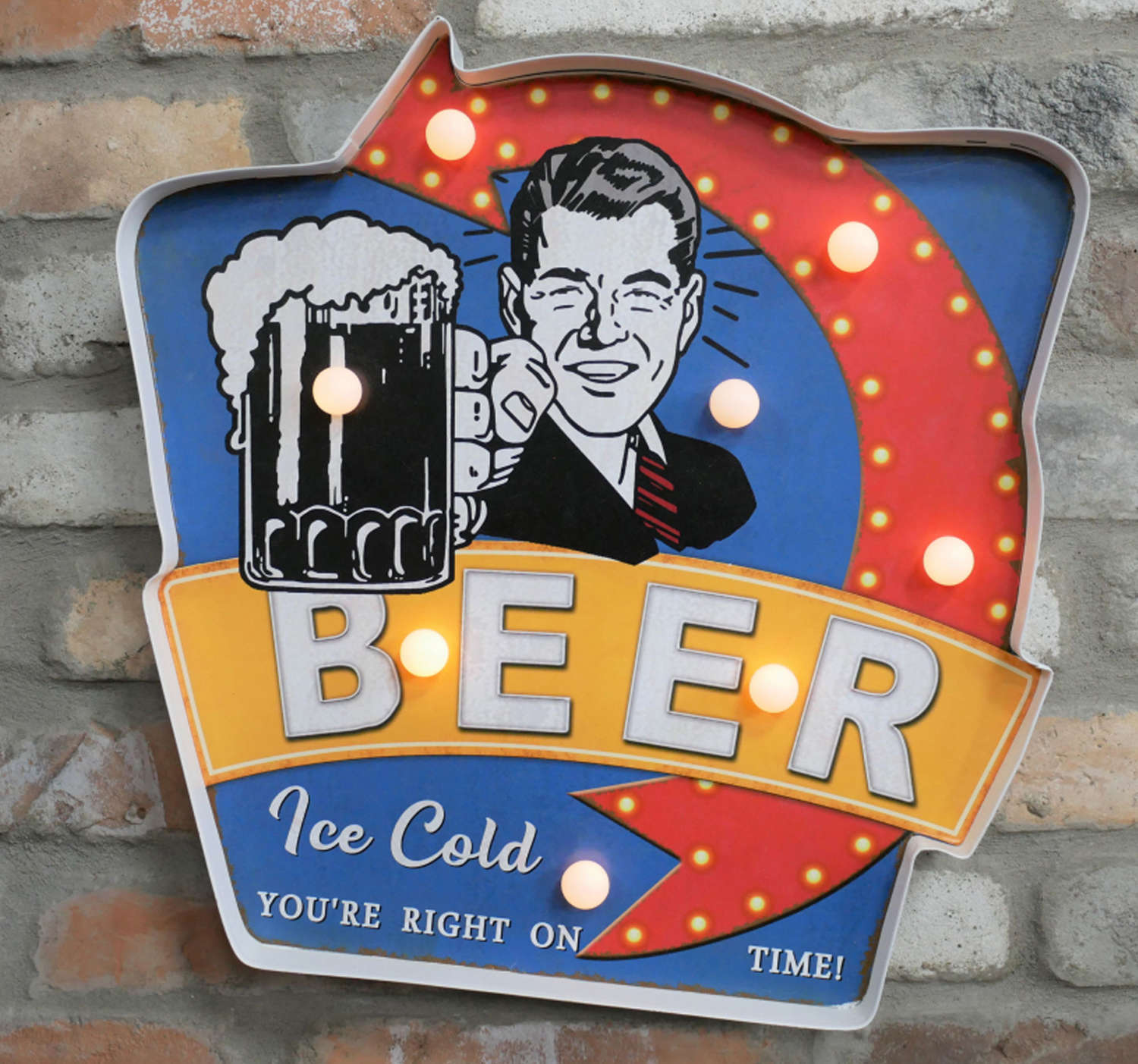 Metal light up 'Ice cold beer' wall hanging sign