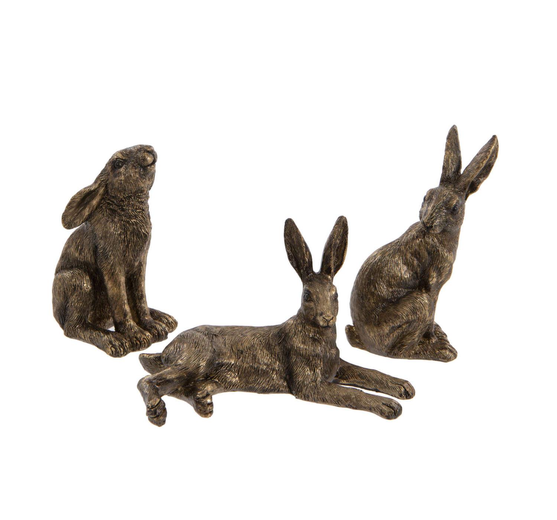Set of three mini bronzed Hare ornaments